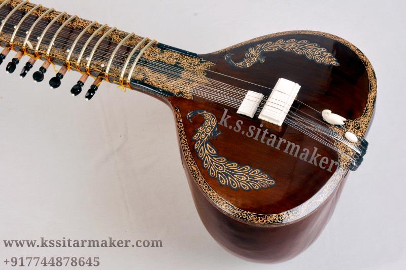 Royal peacock  brown gold sitar by K S Sitarmaker, Miraj